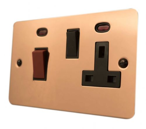 G&H FBC29B Flat Plate Bright Copper 45 Amp DP Cooker Switch & 13A Switched Socket